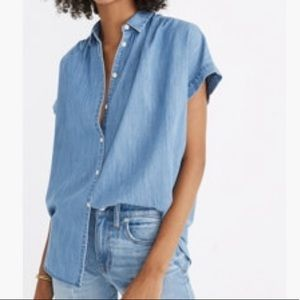 Madewell Chambray Soft Shoulder Collared Blouse